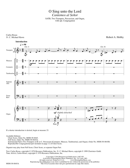 O Sing unto the Lord: Cantemos al Senor (Full Score)