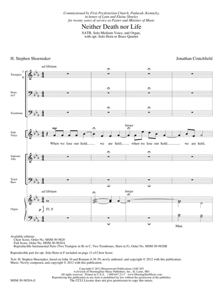 Neither Death nor Life (Full Score)