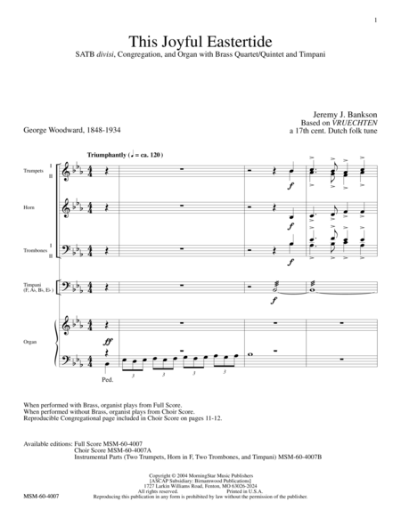 This Joyful Eastertide (Full Score)
