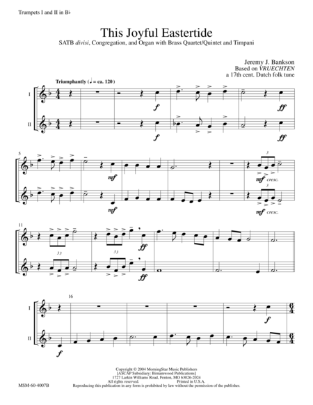 This Joyful Eastertide (Instrumental Parts)