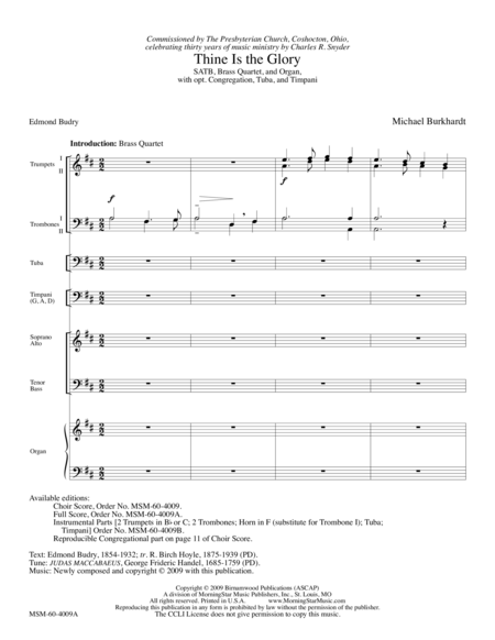 Thine Is the Glory (Full Score)
