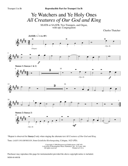 Ye Watchers and Ye Holy Ones: All Creatures of Our God and King (Instrumental Parts)