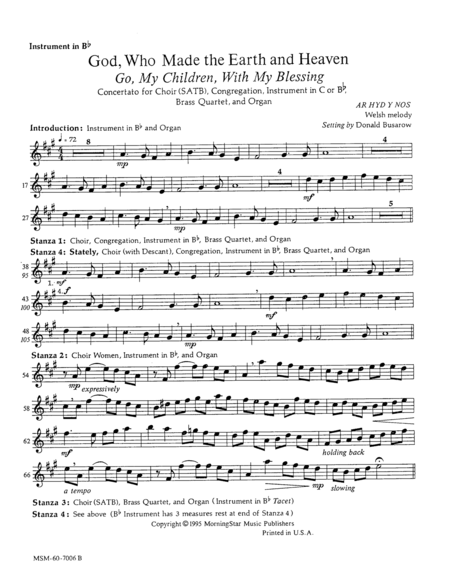 Go, My Children, with My Blessing: God, Who Made the Earth and Heaven (Instrumental Parts)
