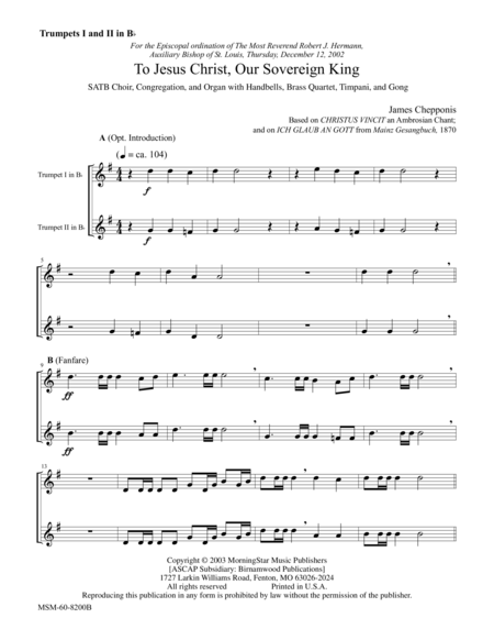 To Jesus Christ, Our Sovereign King (Instrumental Parts)