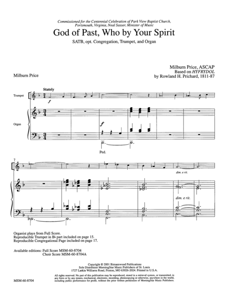 God of Past, Who by Your Spirit (Full Score and Instrumental Parts)