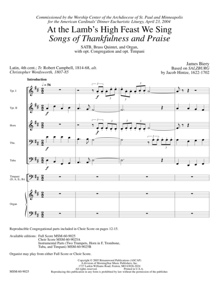 At the Lamb's High Feast We Sing: Songs of Thankfulness and Praise (Full Score)