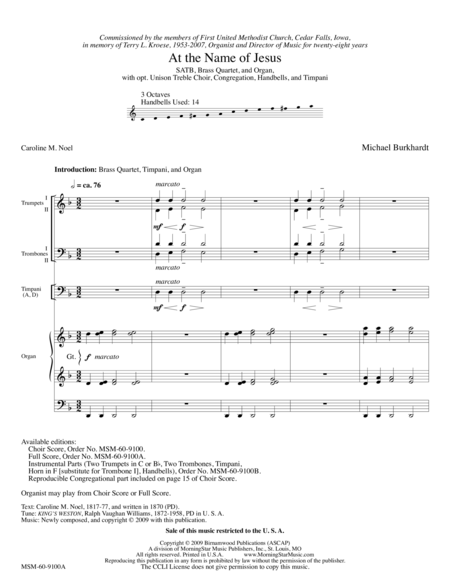 At the Name of Jesus (Full Score)
