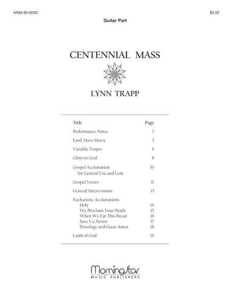 Centennial Mass (Guitar Accompaniment)