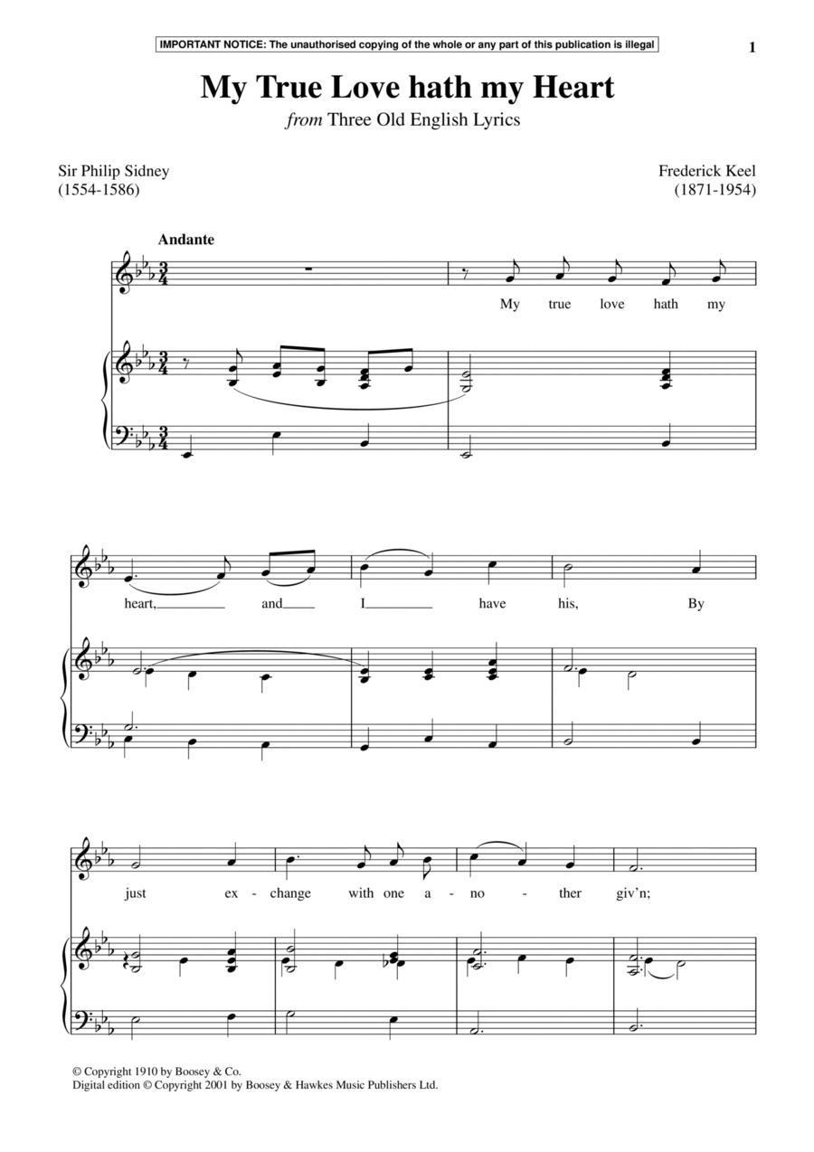 My True Love Hath My Heart (from Three Old English Lyrics)