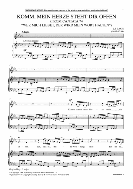 Komm, Mein Herze Steht Dir Offen (from Cantata 74 Wer Mich Liebet, Der Wird Mein Wort Halten)