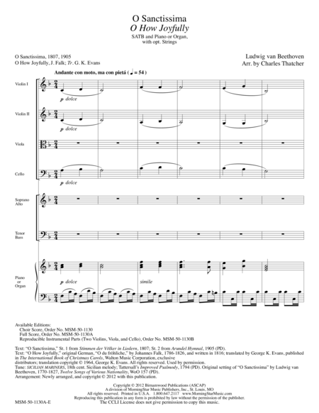 O Sanctissima/O How Joyfully (Full Score)
