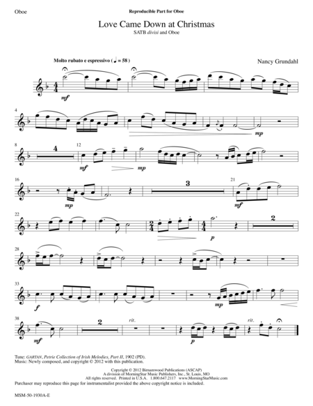 Love Came Down at Christmas (Oboe Part)