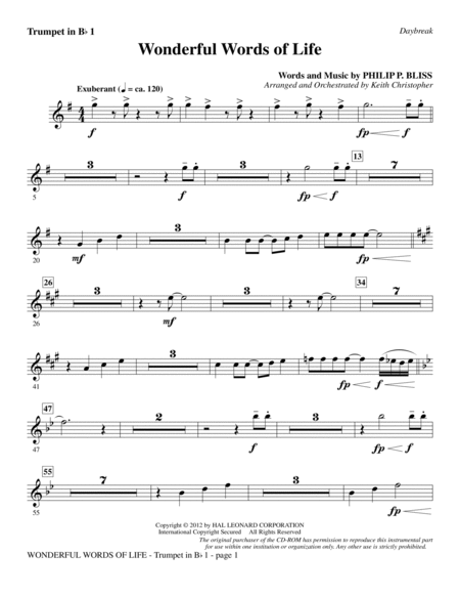 Wonderful Words of Life - Bb Trumpet 1