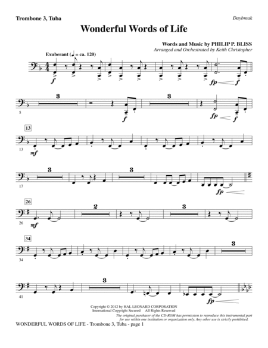 Wonderful Words of Life - Trombone 3/Tuba