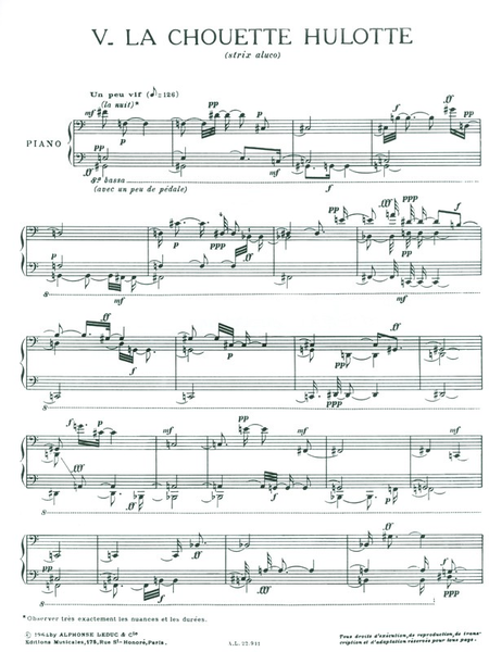 Catalogue D'Oiseaux Volume 3 - 5:La Chouette Hulotte/6:L'Alouette Lulu Piano