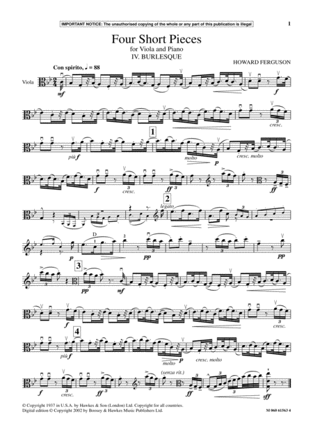 IV. Burlesque (from Four Short Pieces For Viola And Piano)