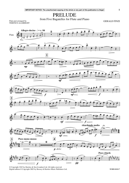 Prelude (from Five Bagatelles For Flute And Piano)