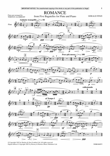 Romance (from Five Bagatelles For Flute And Piano)