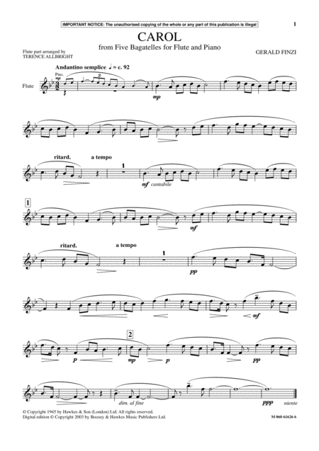 Carol (from Five Bagatelles For Flute And Piano)