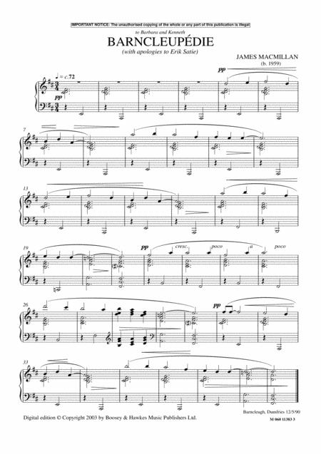 Barncleupedie (With Apologies To Erik Satie)