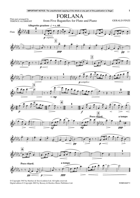 Forlana (from Five Bagatelles For Flute And Piano)