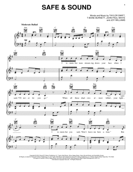 Download Safe And Sound Sheet Music By Taylor Swift - Sheet Music Plus