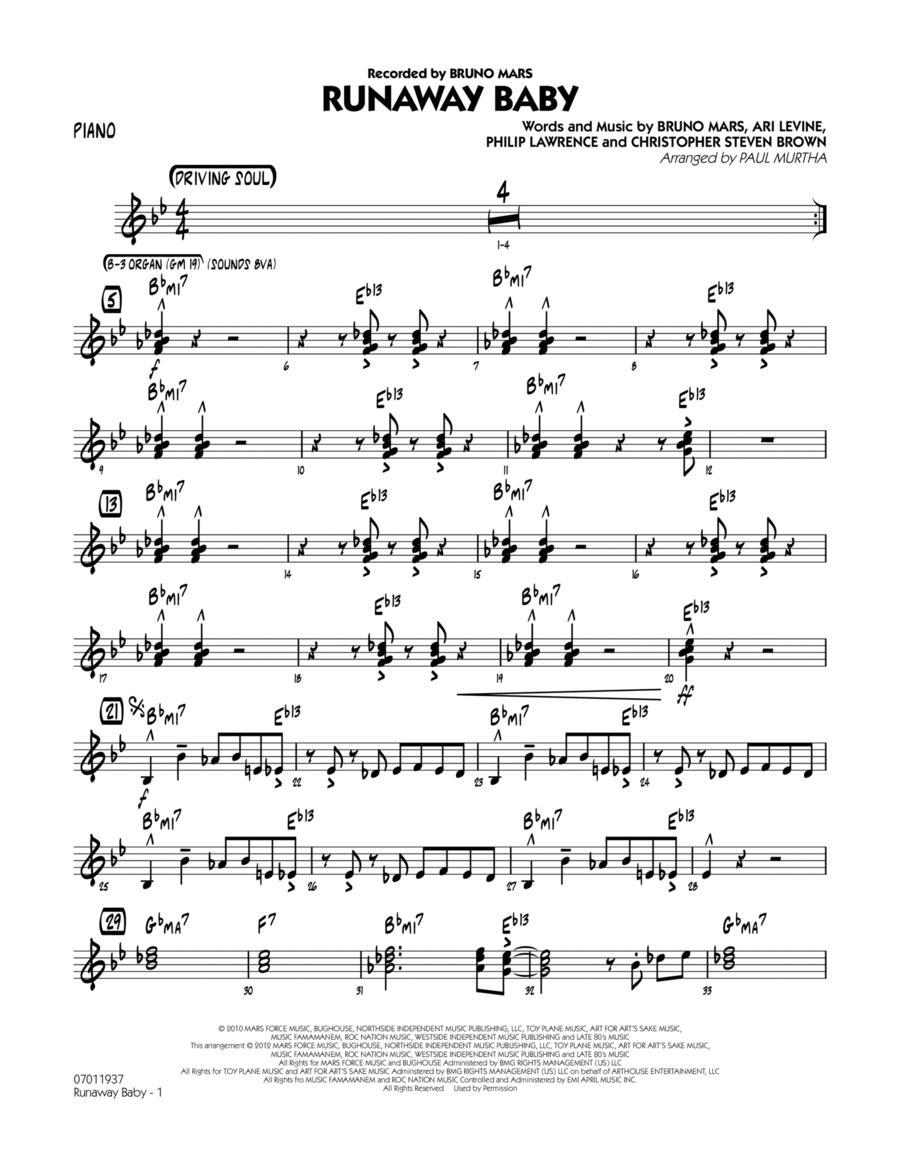 Runaway Baby - Piano