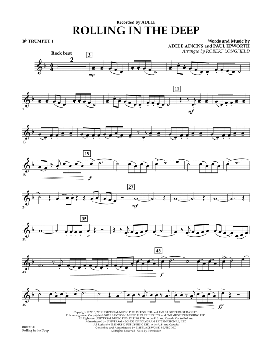 Download Rolling In The Deep - Bb Trumpet 1 Sheet Music By ... Rolling In The Deep Songtekst