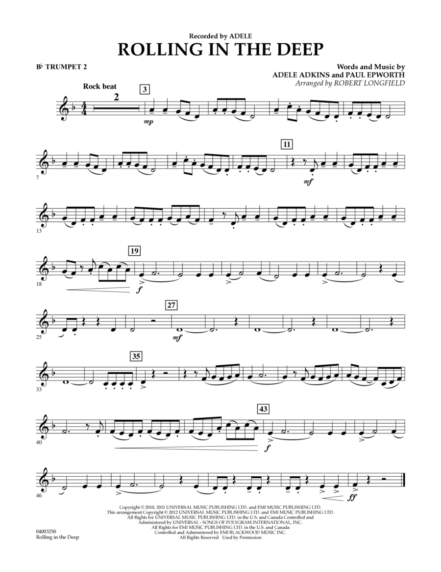 Rolling in the Deep - Bb Trumpet 2