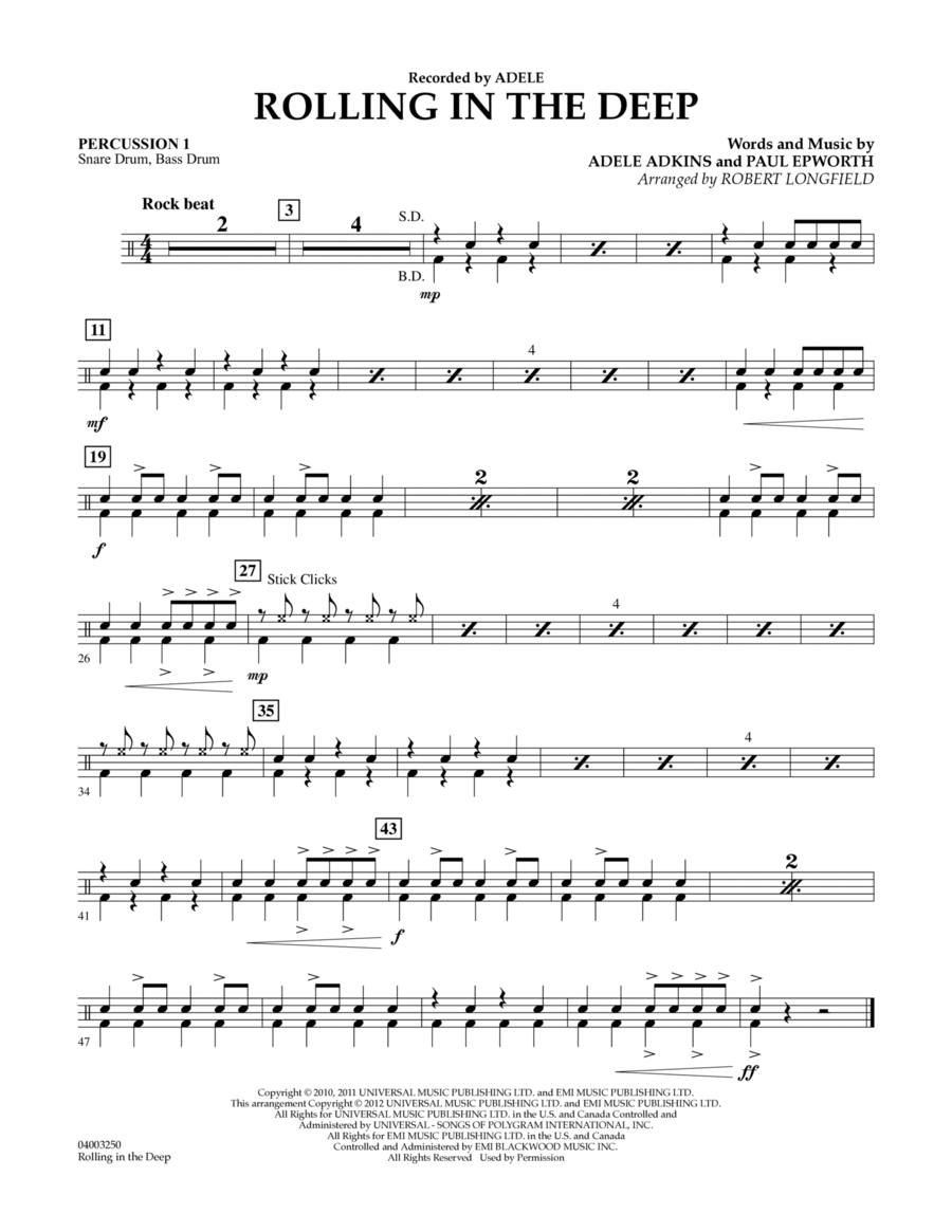 Rolling in the Deep - Percussion 1