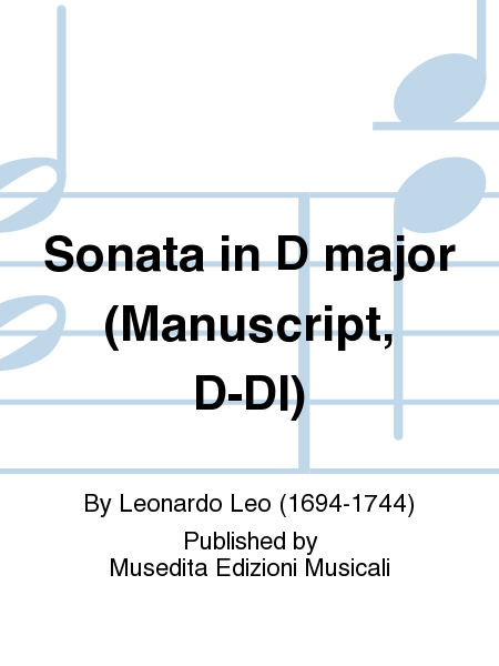 Sonata in D major (Manuscript, D-Dl)