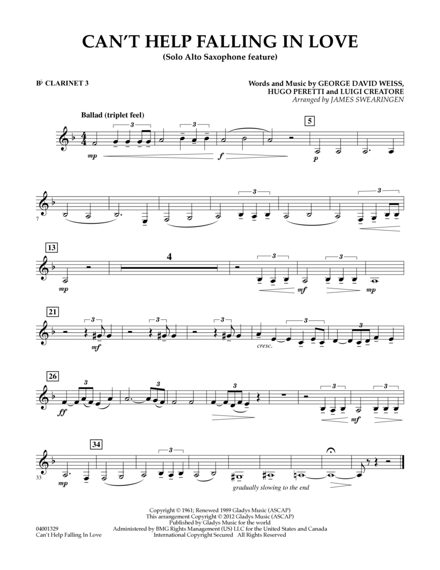 Can't Help Falling In Love (Solo Alto Saxophone Feature) - Bb Clarinet 3