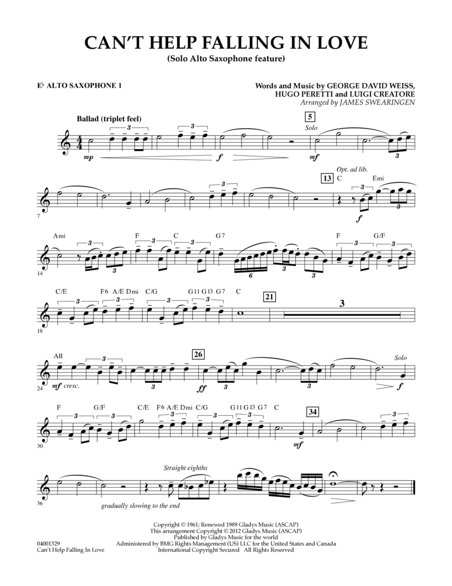 Can't Help Falling In Love (Solo Alto Saxophone Feature) - Eb Alto Saxophone 1