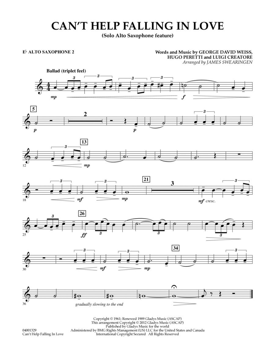 Can't Help Falling In Love (Solo Alto Saxophone Feature) - Eb Alto Saxophone 2