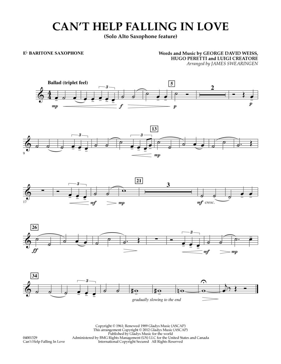 Can't Help Falling In Love (Solo Alto Saxophone Feature) - Eb Baritone Saxophone