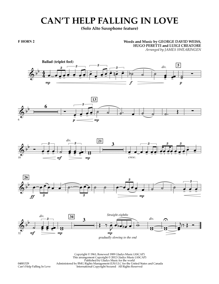 Can't Help Falling In Love (Solo Alto Saxophone Feature) - F Horn 2