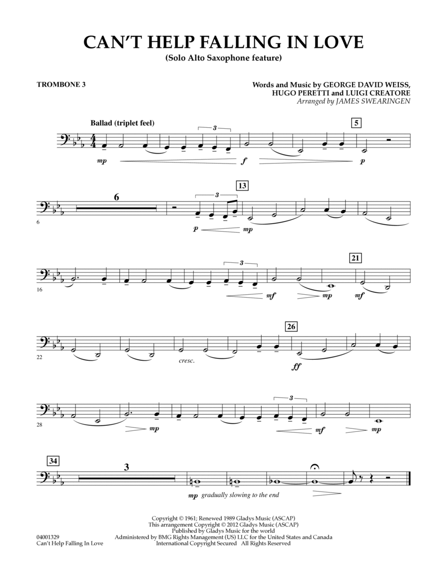 Can't Help Falling In Love (Solo Alto Saxophone Feature) - Trombone 3