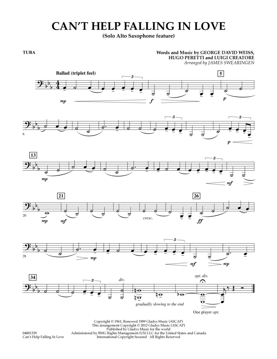 Can't Help Falling In Love (Solo Alto Saxophone Feature) - Tuba