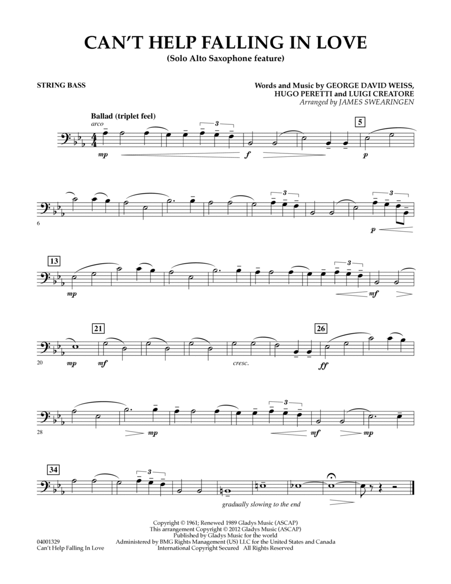 Can't Help Falling In Love (Solo Alto Saxophone Feature) - String Bass