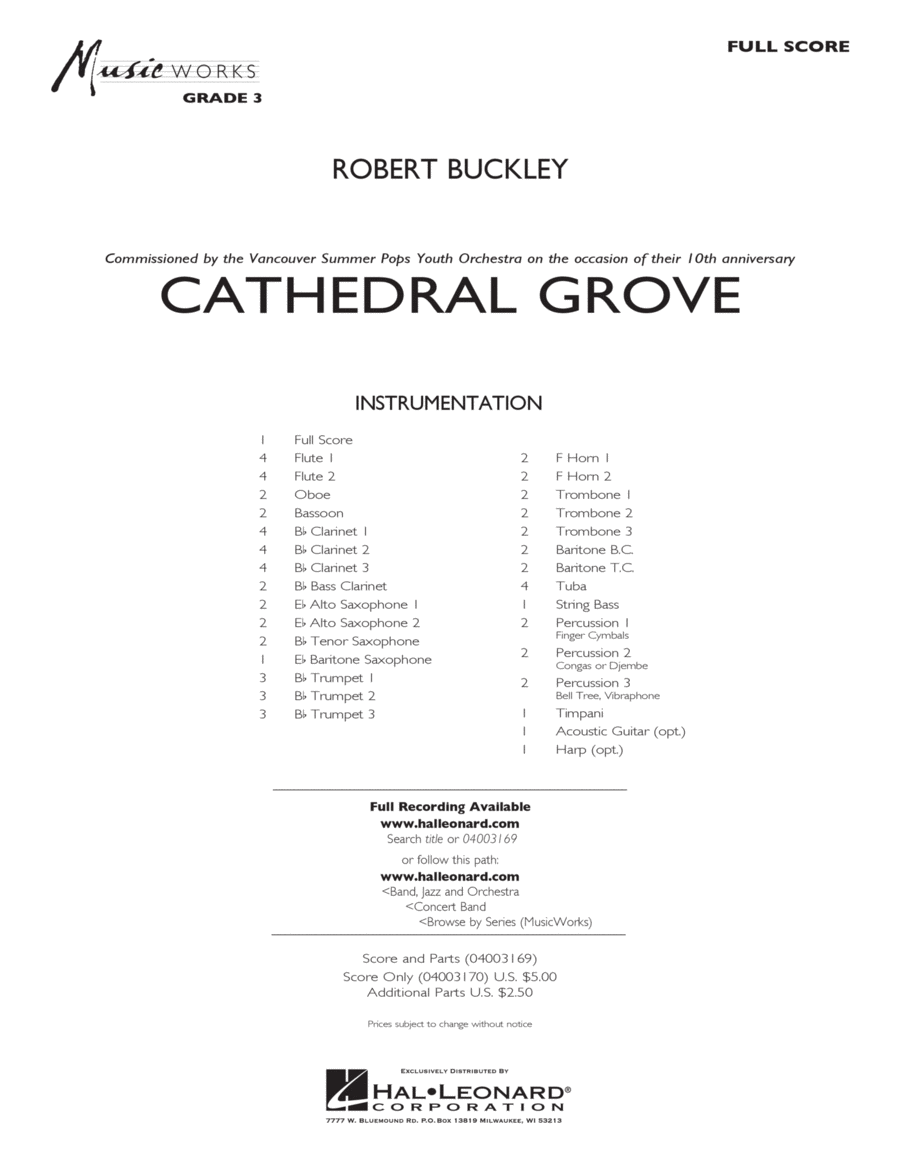 Cathedral Grove - Full Score