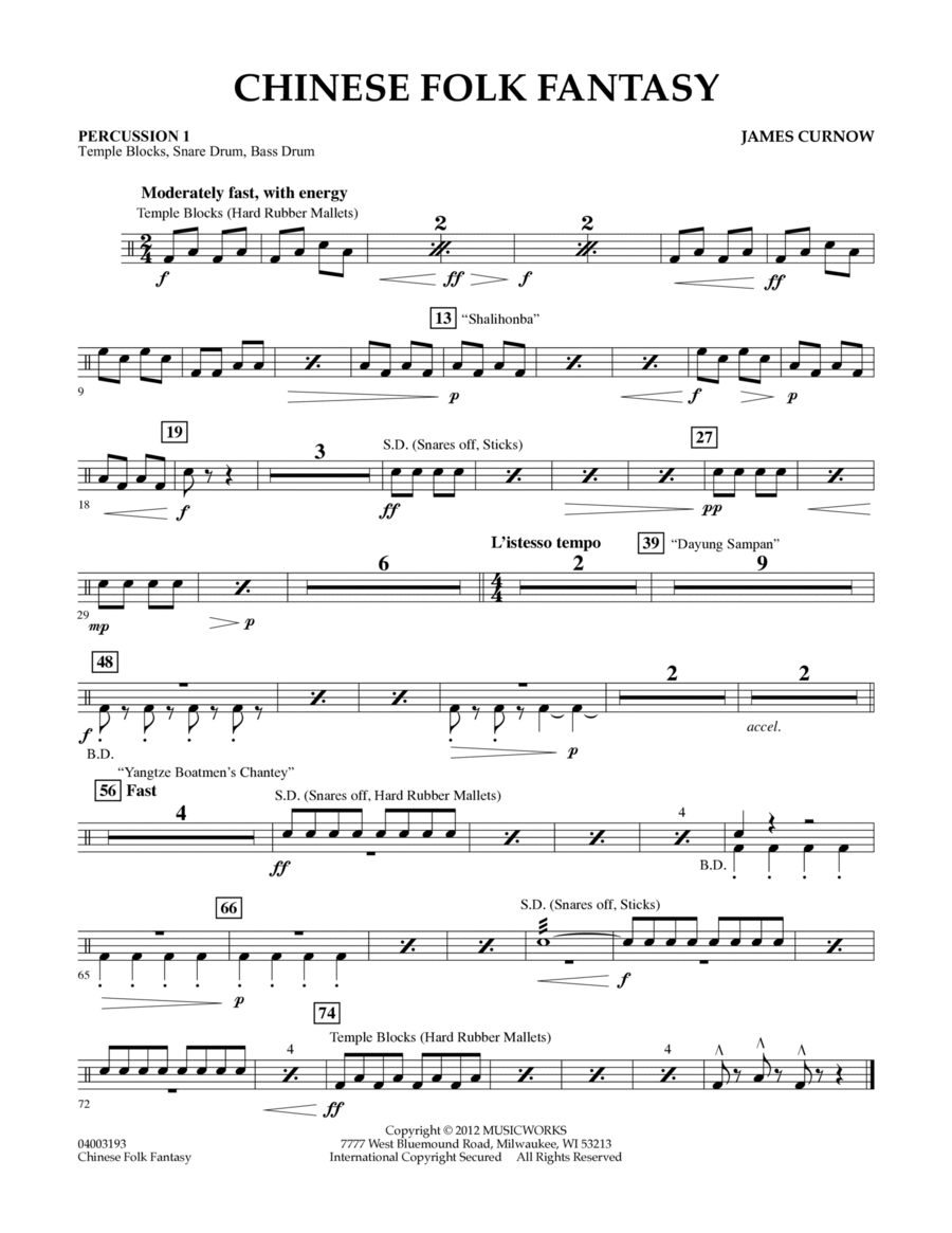 Chinese Folk Fantasy - Percussion 1