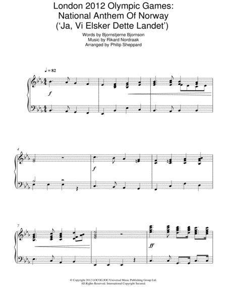 London 2012 Olympic Games: National Anthem Of Norway ('Ja, Vi Elsker Dette Landet')