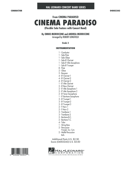 Cinema Paradiso (Flexible Solo with Band) - Full Score