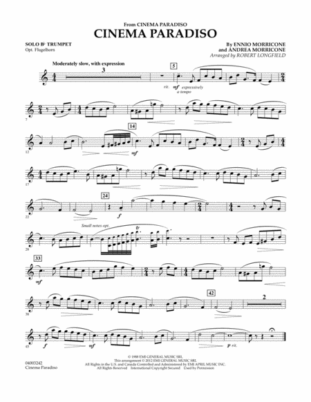Cinema Paradiso (Flexible Solo with Band) - Solo Bb Trumpet
