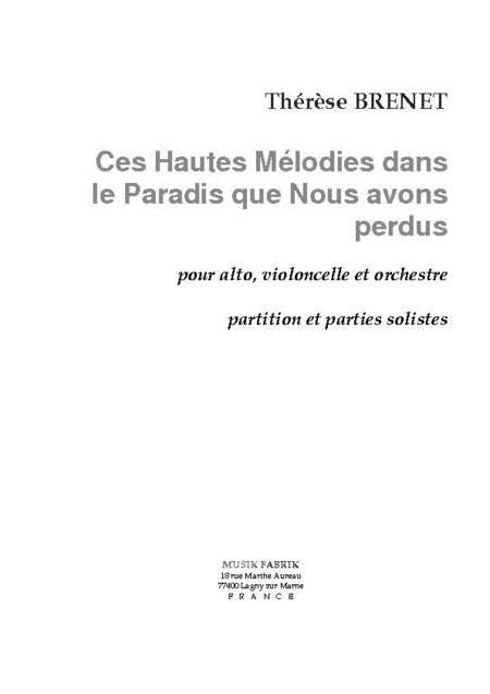 Ces Hautes Melodies dans le Paradis...