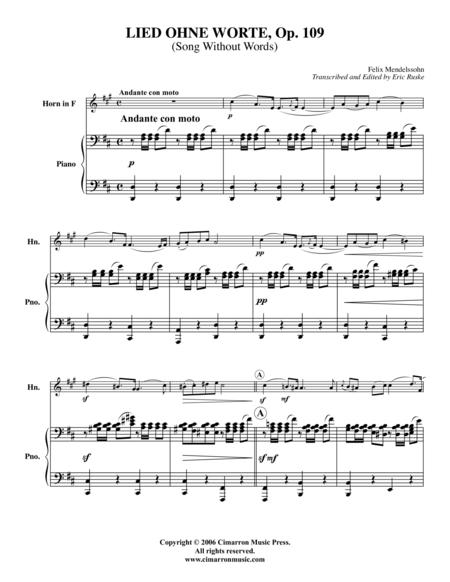 Lied Ohne Worte, Op. 109