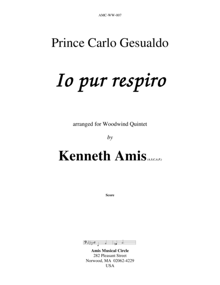 Io pur respiro (for woodwind quintet)