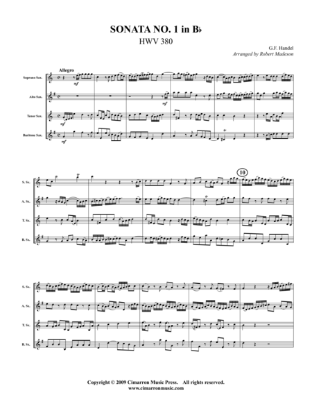 Sonata No. 1 in Bb (HWV 380)