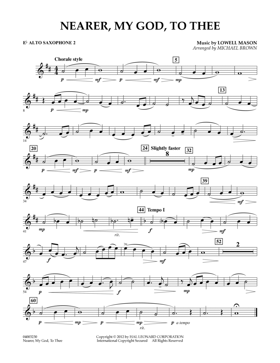 Nearer, My God, To Thee - Eb Alto Saxophone 2