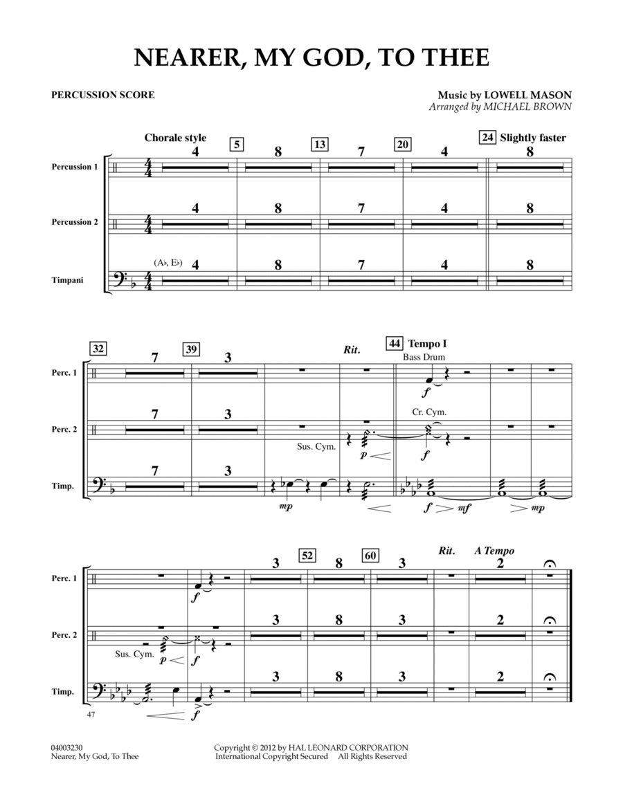 Nearer, My God, To Thee - Percussion Score